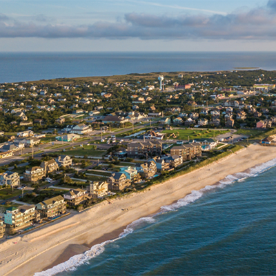 aerial view of outer banks and ocean