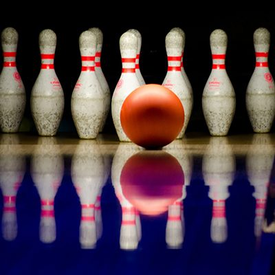 bowling ball and bowling pins