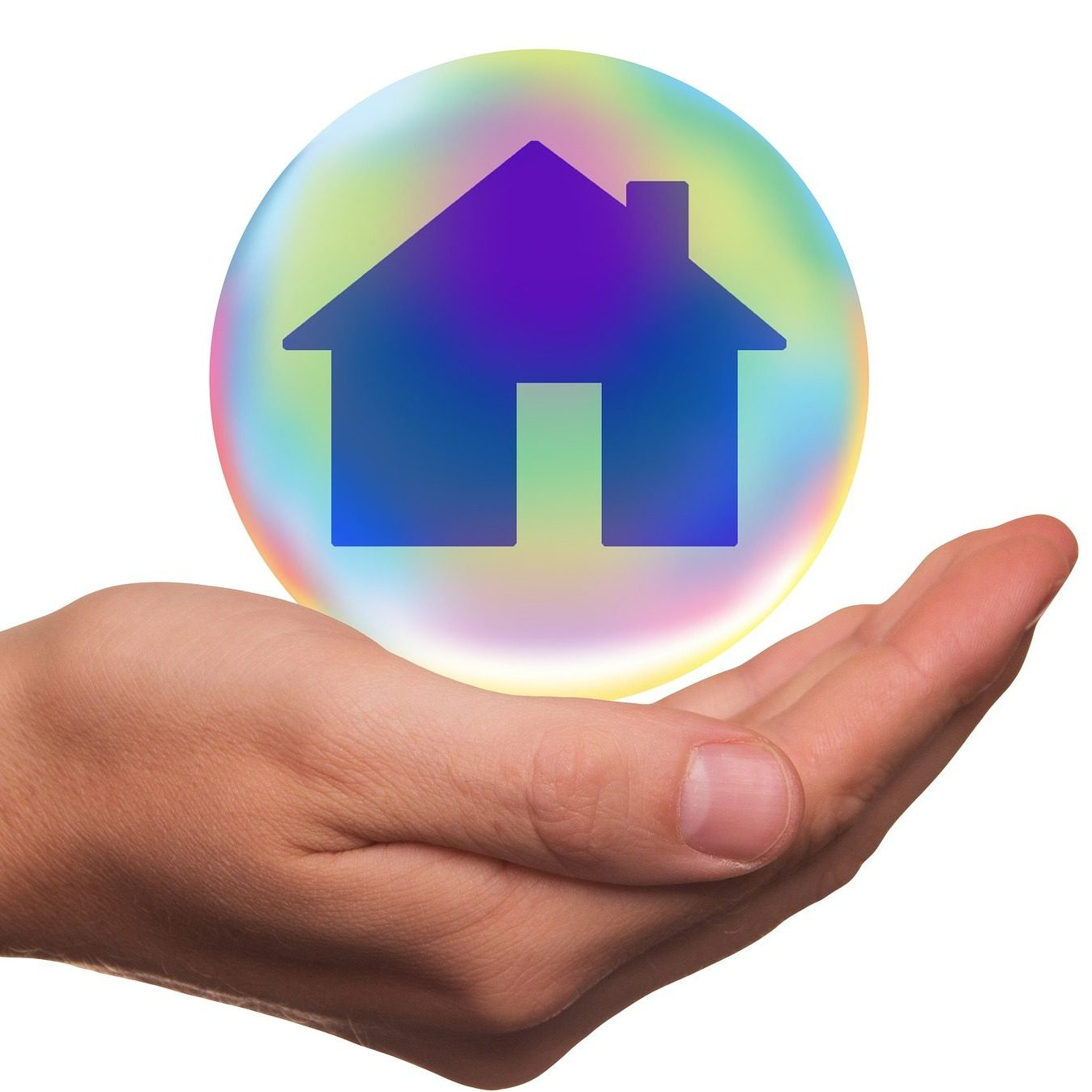 hand cupped holding bubble graphic of home
